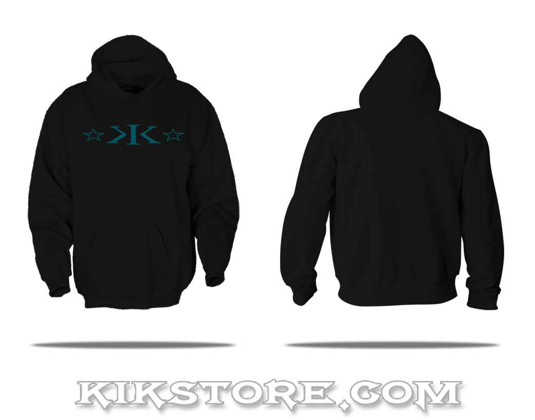 Pull-Over Hoodie * K.I.K. Stars * BLACK w/Teal Logo * 9.3 oz.